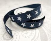 Navy Stars -- 3/8 Grosgrain Ribbon -- 4 feet -- American Crafts