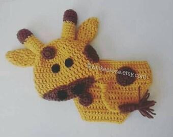 Giraffe Baby Photo Prop Set Hat, Diaper Cover * Newborn - 12 mos.