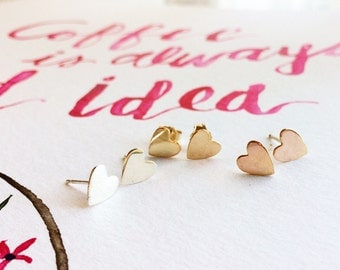 Heart Stud Earrings / Heart Studs / Dainty Little Heart Stud Earrings / Available in Rose Gold Filled, 14K Gold Filled and Sterling Silver