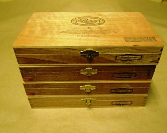 4 pc set of Padron Wooden cigar boxes - Natural finish