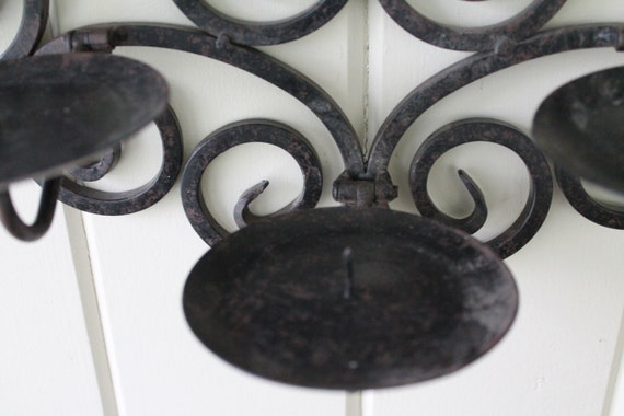 Unique Wrought Iron Candle Holder // Large Wall Hanging By