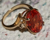 VINTAGE RUBY SAPPHIRE Ring 10k Diamonds c1980