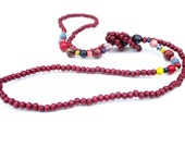 Long wooden rope necklace, knotted, wooden bead, marsala, deep red, cranberry, blue, boho, contemporary