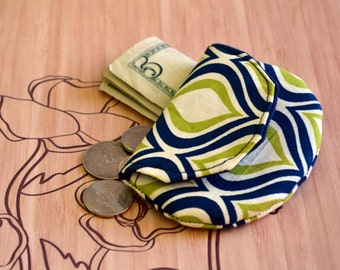 Blue and green coin purse, change purse, pouch, coin bag, mini wallet, purse, pocket pouch, teachers gift, change wallet, stocking stuffers