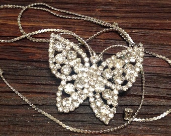 Vintage rhinestone Butterfly necklace pendant/brooch