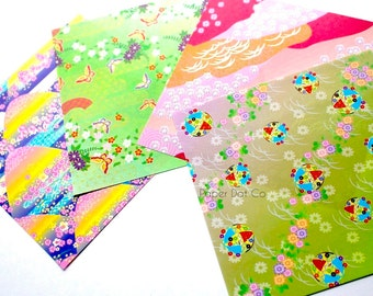 Origami paper pack, chiyogami paper, printed origami sheets, japanese print origami paper, colorful variety patterns, paper craft supplies
