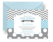 Blue Dot Baby Shower Invitation Boys Modern Sprinkle Invites Couples Shower Announcements Grey Chevron Stripe Printable or Printed (BBGCHS)