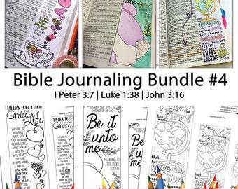Bible Journaling Bible Verse Art Bible Verse Print great for faith journals Art Journals Bundle 4 1 Peter 3-7 Luke 1-38 John 3-16