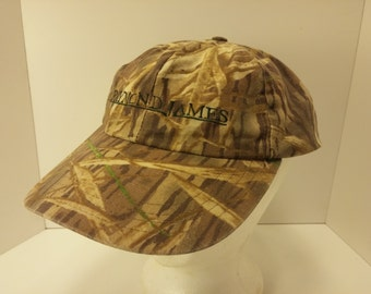 Vintage 1990s McAlister Camouflage Hunters Ball Cap -  waxed cotton, leather strap, brass buckle - Accessories, Duck Hunting, Camouflage