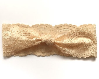 Peach Knotted Lace Headband // Baby Girl Headband, Infant, Newborn, Toddler, Adult, Turban :L