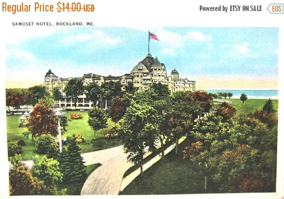 40% off Holiday Sale Post Cards 1930s Maine Samoset Hotel Rockland ME Postcard