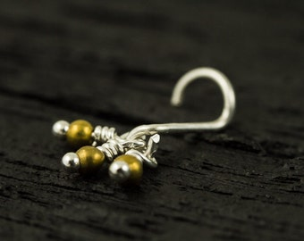 Brass beads silver nose screw