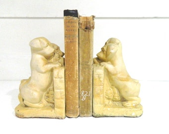 Vintage Puppy Bookends Puppies Bookends Ceramic Cream