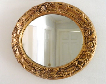 Vintage Gold Mirror Oval Large Ornate