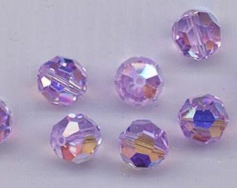 24 sparkling Swarovski crystals - art 5000 - 6 mm - violet AB