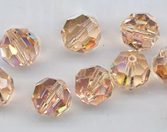 24 gorgeous Swarovski crystals - art 5000 - 6 mm - light peach AB