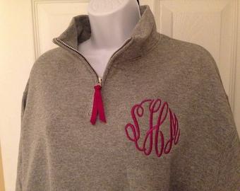 Ladies Quarter Zip Monogrammed pullover, 1/4 Zip Sweatshirt, Christmas Gift!