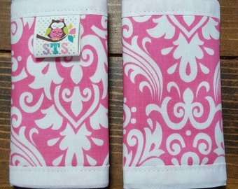 Reversible Car Seat Strap Covers White Damask on Hot Pink with Hot Pink Dimple Dot Minky Cuddle Baby Girl Accessories Newborn ITEM #106