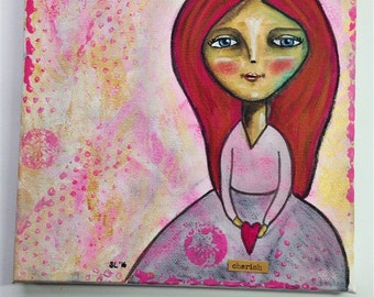 Cherish. Mixed media artwork. Original Art for Sale, Original Art Work, Fine Art, Original Painting, Gift Women