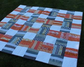 Orange and Gray Modern Lap Quilt