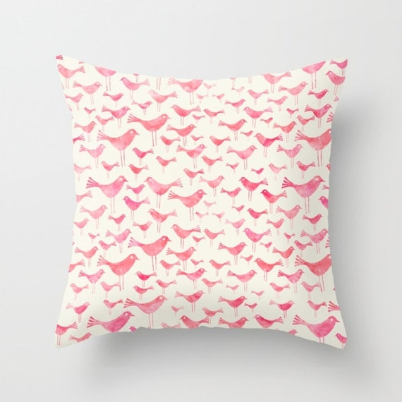 Light Pink Ruffle Throw Pillow : Light Pink Birds Pillow Cover Throw Pillow Nursery Room