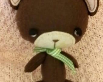 Handmade, handstitched felt bear, teddy bear, stuffed animal