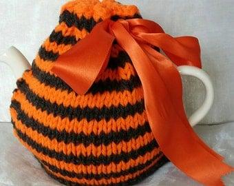 Large Orange Charcoal Striped Tea Cosy