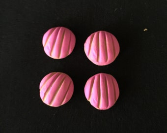 Set of 4 Polymer Clay Painted Pink  Pan Dulce