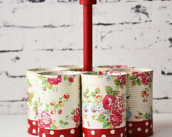 Recycled cans storage - caddy - set of seven - dots and roses - red - handmade
