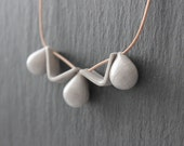 Handmade porcelain gray necklace - drops and triangles
