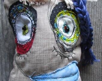 Spade, the purple haired punk handmade ooak art doll