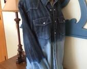 Bleach Dipped Denim Tommy Hilfiger Trim Fit Men's XL Ombre Dyed Denim Shirt Snap Front Plus Size Fall Fahion