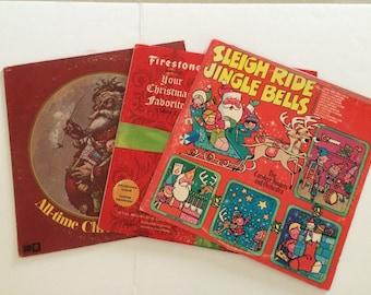 Vintage Christmas Albums Set of Three Vintage Vinyl Holiday Music, Vintage Christmas Albums