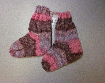 Hand Knitted Baby/Toddler Blend of Bamboo/Nylon/Merino Wool Socks