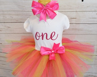 First bday outfit,FREE SHIPPING, birthday outfit, colorful tutu,hot pink and lime green tutu,first bnirthday