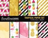 Tropical Digital Paper Pack - Flamingo Digital Paper Set - Gold Pineapple Design - Watermelon Paper Set - COMMERCIAL USE Read Terms Below