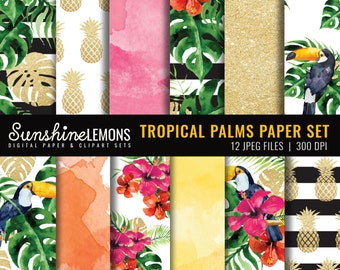 Tropical Palms Digital Paper Pack - Summer Digital Paper Set - Gold Pineapple Design - COMMERCIAL USE Read Terms Below