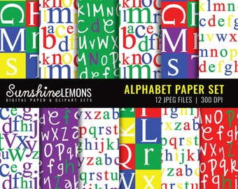 Alphabet Digital Scrapbooking Papers in Primary Colors - Set of 12 - COMMERCIAL USE Read Terms Below