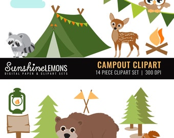Campout Clipart - Woodland Camping Clipart - Campout Clipart - Clipart set of 14 - COMMERCIAL USE Read Terms Below