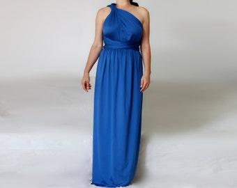 Deep Blue Wrap Bridesmaid Dress / Wrap Wedding Maxi Dress/ Multiway Convertible Dress Make to Measure Infnity Dess/ Plus Size Maxi Dress