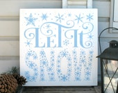 18x18 Let It Snow - Painted Wooden Subway Typography Christmas Sign