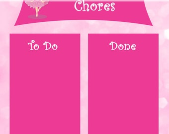 Printable Chore Chart - Instant Download - Ballerina Reward Chart - To Do and Done Sheet