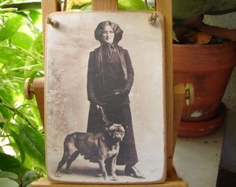 Edwardian lady & dog, antique style photo image on shabby chic wooden tag with string hanger