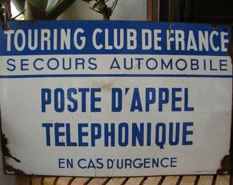 original French antique,enamel sign,touring club of France,emergency telephone