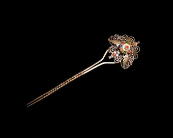 Vintage Indonesian Brass Hair Pin, Openwork Filigree Bejewelled Glass Comb, Traditional Sumatran Bridal Hairpin, Love Token, Gift for Her