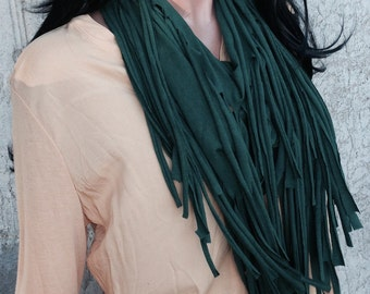 Forest Green Hunter Green Fringe Infinity Scarf