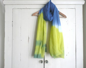 Hand dyed cotton scarf - blue and green cotton scarf - hand dyed blue and lime green cotton scarf - hand dyed cotton wrap