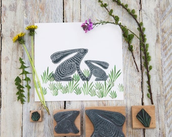 Sitting Hare Rubber Stamp