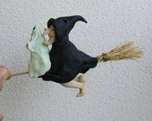 Halloween ghost, Halloween witch doll. Witch figurine. Halloween art doll. Kitchen witch.