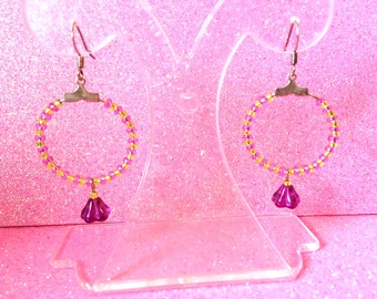 Earrings Lime Green and Mauve Purple Flower Hoop Earrings by JulieDeeleyJewellery on Etsy Ladies Jewelry, Gifts for her, handmade jewellery